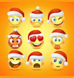 Emoji and sad new year hat icon set vector