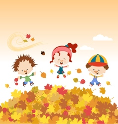 Fall Kids vector image
