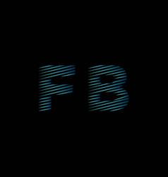 Fb monogram lines style blue light vector