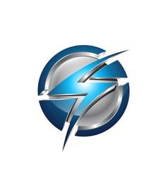 Flash planet circle thunder logo design logo vector