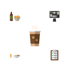 Flat icon oneday set of bureau lunch vector