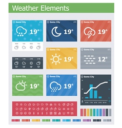 Flat weather app UI elements vector