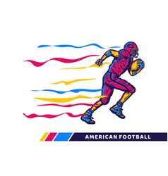 football player holding rugby ball when running vector image