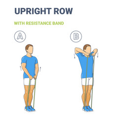 Guy doing upright row home workout exercise vector