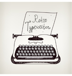 Hand drawn doodle retro black ans white typewriter vector