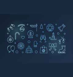 happy holidays blue horizontal banner vector image