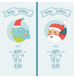 Happy new year card with santa and bird vector