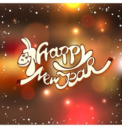 Happy new year Christmas lettering with hand drawn vector image
