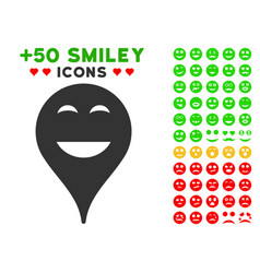 Happy smiley map marker icon with bonus mood vector