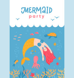 having fun mermaid and sea life cartoon for party vector image