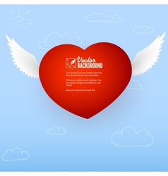 Heart with wings for the good and love messages vector image