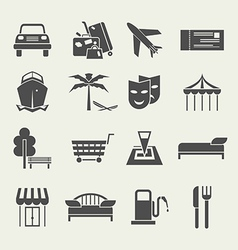Icons vacation and travel in a flat style vector