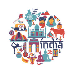 India set asia country indian architecture vector