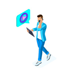 isometric young man watches video and communicates vector image