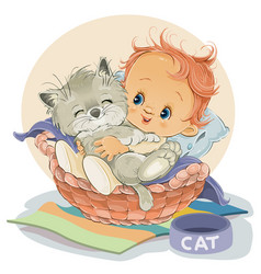 ittle boy sits in a basket and hugs his kitten vector image