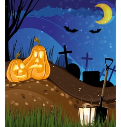 Jack o lanterns on a cemetery vector