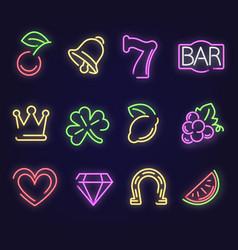 jackpot neon sign slot machine web icons vector image