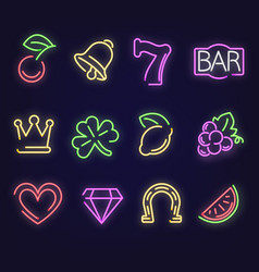 Jackpot neon sign vector slot machine web icons vector