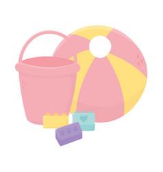 kids zone toys bucket ball bricks cartoon vector image