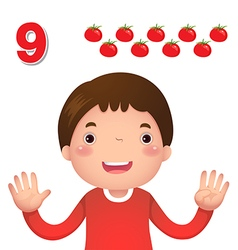 Learn number and counting number nine vector