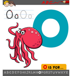 letter o with cartoon octopus animal vector image