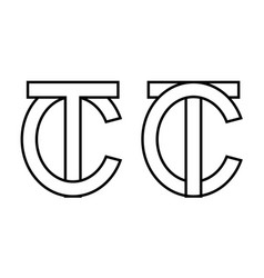 Logo sign tc ct icon sign two interlaced letters t vector