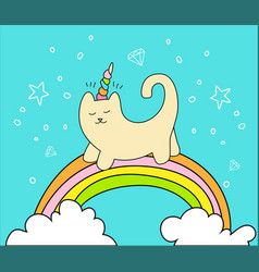 Magical cat on rainbow and two white clouds vector