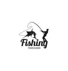man fishing silhouette logo vector image