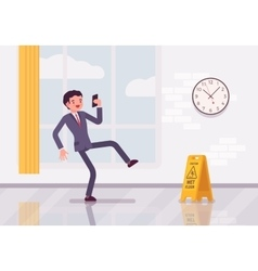 Man with a smartphone slipps on the wet floor vector image