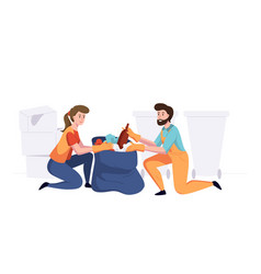 man with woman from cleaning company staff vector image
