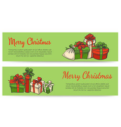 merry christmas horizontal banners vector image