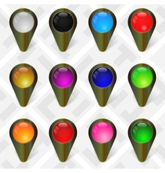 Military Map Markers GPS Pointers Set 4 vector