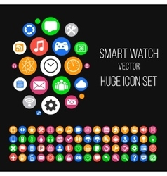 Modern Smartwatch Style Background with Huge Set vector image