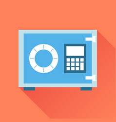 Money safe icon in flat style on orange vector