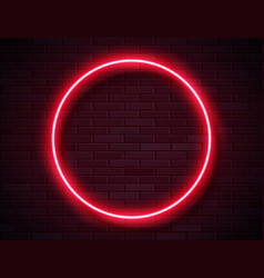 neon glowing circle red frame for banner on dark vector image