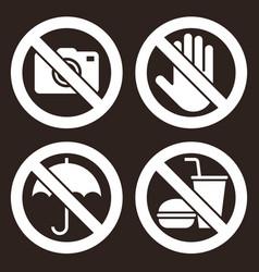 No camera do not touch umbrella not allowed vector