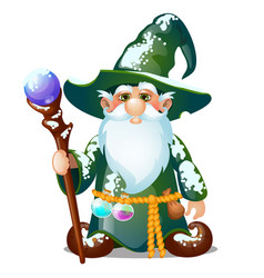 Old wizard with hat and magic stick isolated vector