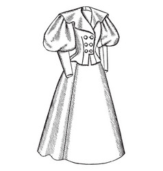 Outfit has a long flared skirt vintage engraving vector