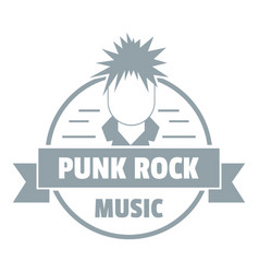 Punk rock music logo simple gray style vector
