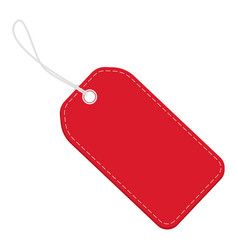 realistic discount red leather tag for sale vector image
