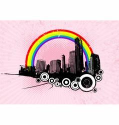 Retro city with rainbow vector