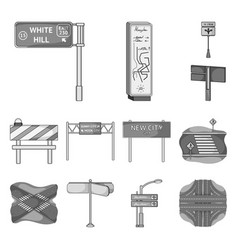 Road junctions and signs monochrome icons in set vector