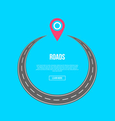 roads banner with map pin vector image