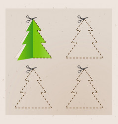 scissors cut christmas tree old paper vector image