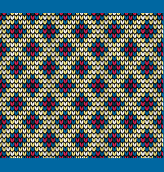Seamless color rhombus knitting pattern vector