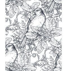 Seamless pattern with ink hand drawn birds on vector