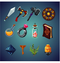 Set magic items for computer fantasy game vector