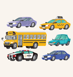 set toy vehicles special machines police car vector image