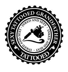 Sexy tattooed grandfather vector