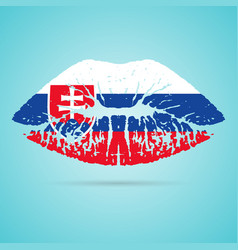 slovakia flag lipstick on the lips isolated on a vector image